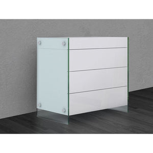 IL VETRO High Gloss White Lacquer Tall Dresser/ Nightstand by Casabianca Home