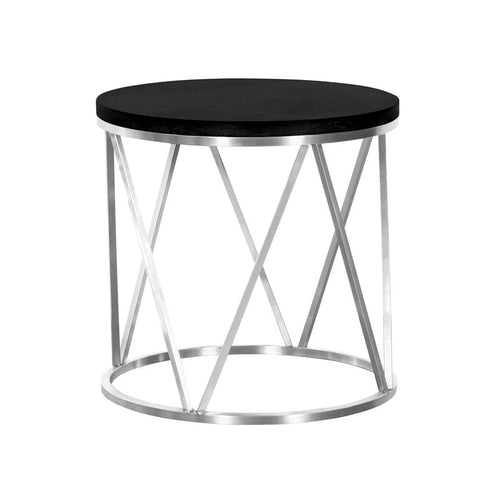 Emerald Contemporary Round End Table in Brushed Stainless Steel with Black Ash Wood Top