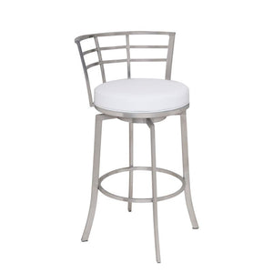 "Viper 26"" Counter Height Swivel Barstool in Brushed Stainless Steel finish with White Faux Leather"
