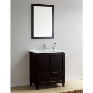 "Adornus Lombardi 30"" Espresso Single Bathroom Vanity with mirror"