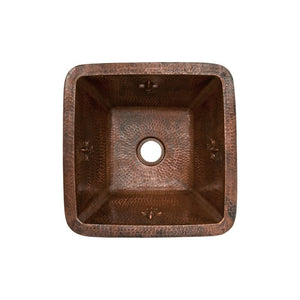 "15"" Square Fleur De Lis Copper Bar/Prep Sink, ORB Bar Faucet, 2"" Strainer Drain"
