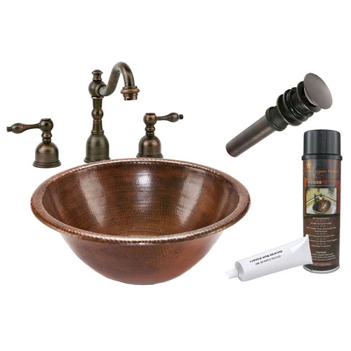Round Self Rimming Hammered Copper Sink with ORB Widespread Faucet w Drain