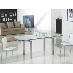 FROSTY Chrome  Clear and Frosted Glass Extendable Dining Table