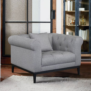 Glamour Contemporary Chair with Black Iron Finish Base and Grey Fabric