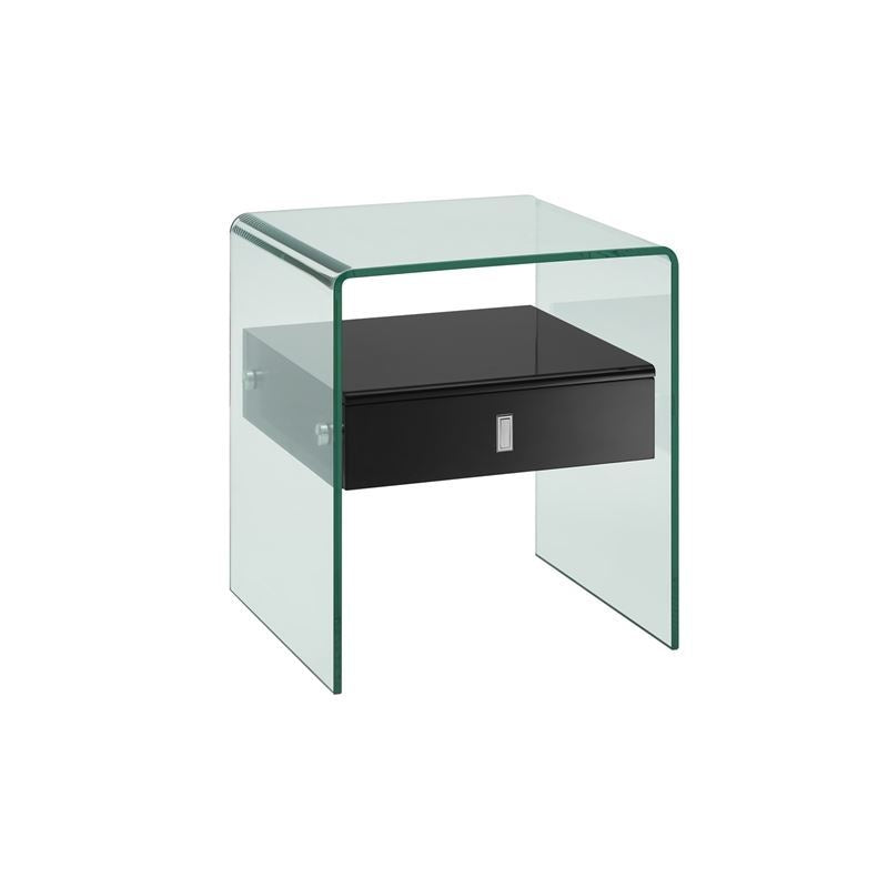 BARI High Gloss Black Lacquer Nightstand / End Table by Casabianca Home
