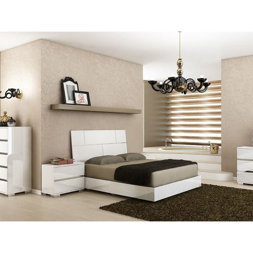 PISA High Gloss White Lacquer w Stainless Steel Queen Bed by Talenti Casa