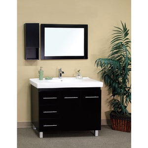 Bellaterra 39 In Single Sink Vanity Wood Black  Left Side Drawers