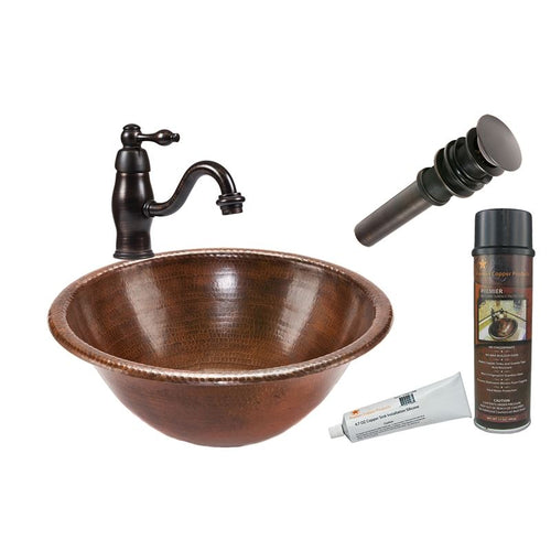 Round Self Rimming Hammered Copper Sink with ORB Faucet, Matching Drain