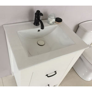 Bellaterra 24 In Single Sink Vanity Manufactured Wood White 9008-24-WH