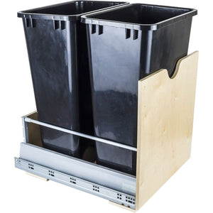 Preassembled 50-Quart Double Pullout Waste Container System. CAN-MDB50