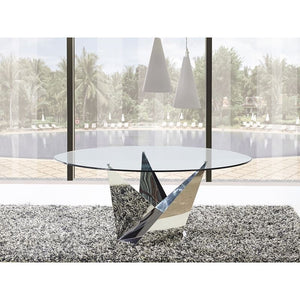 FIRENZE Stainless Steel / Clear Glass Dining Table by Casabianca Home