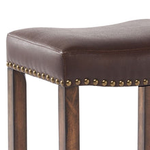 "Load image into Gallery viewer, Tudor 26"" Counter Height Wood Backless Barstool in Chestnut Finish and Kahlua Pu"