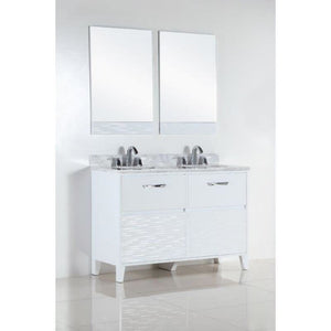 Bellaterra 48 In. Double Sink Vanity With White Carrara Top