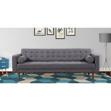 Load image into Gallery viewer, Element Mid-Century Modern Sofa in Dark Gray Linen and Walnut Legs