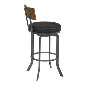 "Ojai 30"" Bar Height Metal Swivel Barstool in Vintage Black Faux Leather with Mineral Finish and Walnut Wood Back"