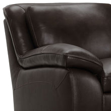Load image into Gallery viewer, Zanna Contemporary Chair in Genuine Dark Brown Leather with Brown Wood Legs
