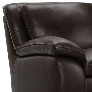 Zanna Contemporary Chair in Genuine Dark Brown Leather with Brown Wood Legs