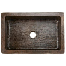 "Load image into Gallery viewer, 33"" Hammered Copper Kitchen Apron Single Basin Sink w/ Barrel Strap Design"