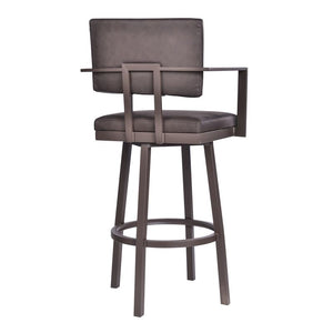 "Balboa 26"" Counter Height Barstool with Arms in Brown Powder Coated Finish and Vintage Brown Faux Leather"
