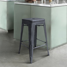 "Load image into Gallery viewer, Zed Industrial 26"" Counter Height Backless Barstool in Industrial Grey"