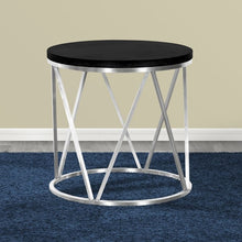 Load image into Gallery viewer, Emerald Contemporary Round End Table in Brushed Stainless Steel with Black Ash Wood Top