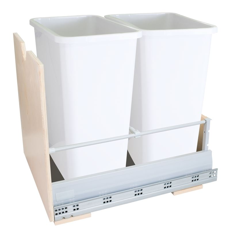 Preassembled 35-Quart Double Pullout Waste Container System with White Cans