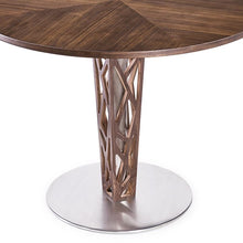 "Load image into Gallery viewer, Crystal 48"" Round Dining Table in Walnut Veneer column and Brushed Stainless Steel finish with Walnut Veneer Wood Top"