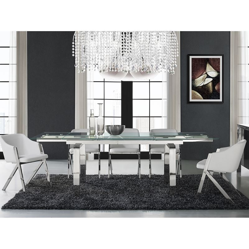 CLOUD Stainless Steel Extendable Dining Table by Casabianca Home