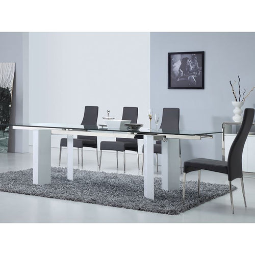 TORINO High Gloss White Lacquer Extendable Dining Table by Casabianca Home