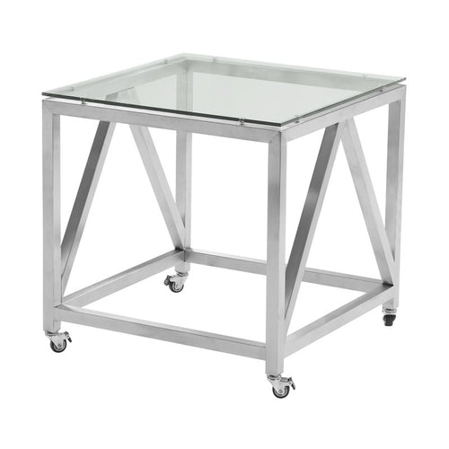 Enessa Contemporary Square End Table with Wheels in Brushed Stainless Steel Finish with Tempered Glass Top