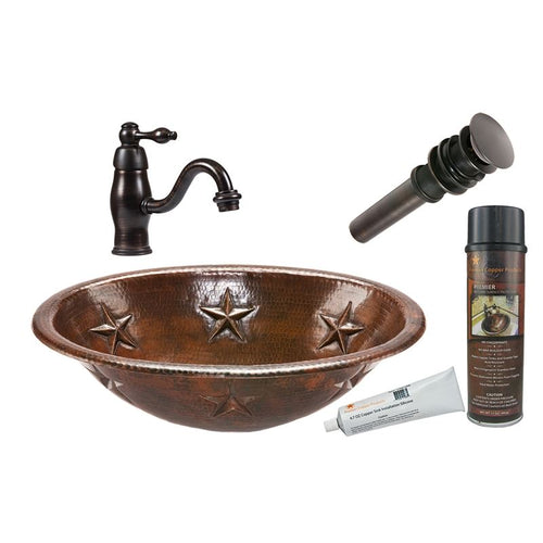 Oval Star Self Rimming Hammered Copper Sink with ORBFaucet, Matching Drain