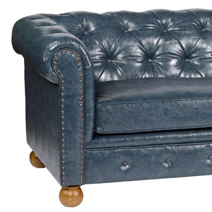 Winston Antique Blue Bonded Leather Sofa