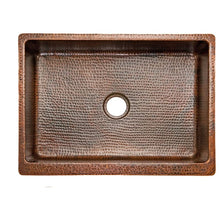 "Load image into Gallery viewer, 25"" Hammered Copper Kitchen Apron Single Basin Sink"