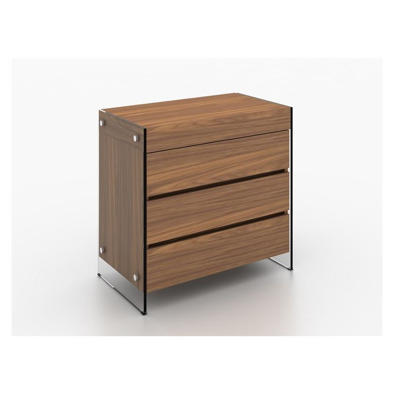 IL VETRO Walnut Veneer Tall Dresser/ Nightstand by Casabianca Home