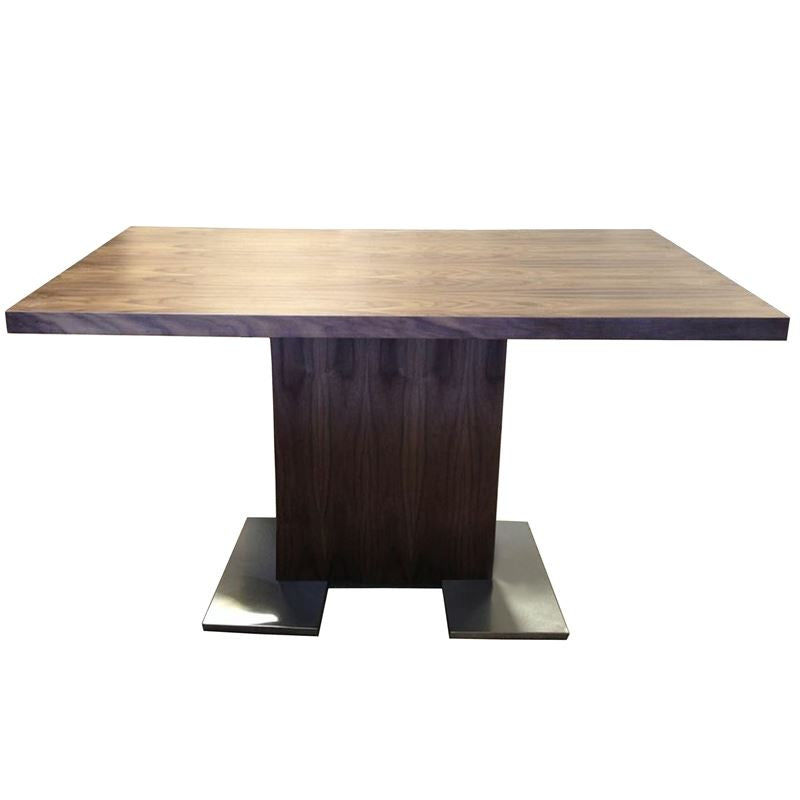 Zenith Dining Table in Walnut Wood and Brushed Stainless Steel Finish