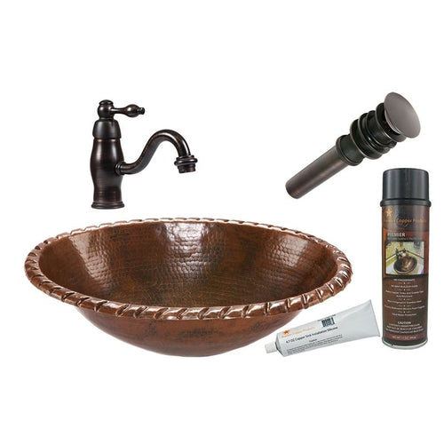 Oval Roped Rim Self Rimming Hammered Copper Sink with ORB Faucet, Matching Drain