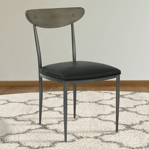 Davis Contemporary Dining Chair in Mineral Finish with Vintage Black Faux Leather and Grey Walnut Wood Back - Set of 2