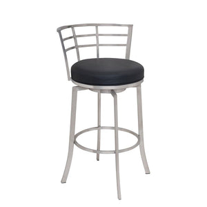 "Viper 30"" Bar Height Swivel Barstool in Brushed Stainless Steel finish with Black Faux Leather"