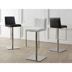 LOFT Black Eco-leather w Stainless Steel Bar Stool by Casabianca Home