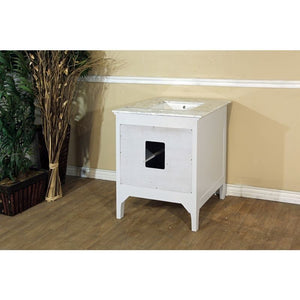 Bellaterra 29 In Single Sink Vanity Wood White Cabinet Only 7613-WH