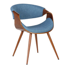 Load image into Gallery viewer, Butterfly Mid-Century Dining Chair in Walnut Finish and Blue Fabric