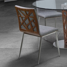 Load image into Gallery viewer, Crystal Dining Chair in Brushed Stainless Steel finish with Gray Fabric upholstery and Walnut back (Set of 2)