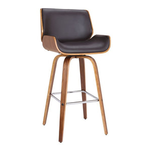 "Tyler 26"" Mid-Century Swivel Counter Height Barstool in Brown Faux Leather with Walnut Veneer"