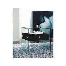 Load image into Gallery viewer, BARI High Gloss Black Lacquer Nightstand / End Table by Casabianca Home