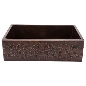 "33"" Hammered Copper Kitchen Apron Single Basin Sink w/ Scroll Design"