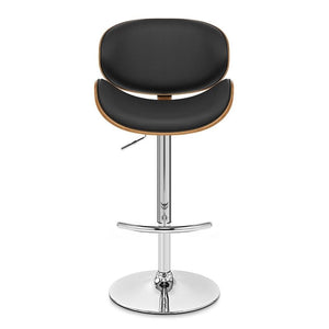 Naples Swivel Barstool in Chrome finish with Black Faux Leather and Walnut Veneer Back