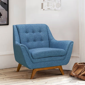 Janson Mid-Century Sofa Chair in Champagne Wood Finish and Blue Fabric