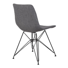 Load image into Gallery viewer, Palmetto Contemporary Dining Chair in Charcoal Fabric with Black Metal Legs