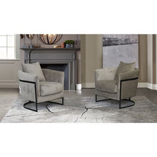Load image into Gallery viewer, Swan Contemporary Accent Chair with Black Iron Finish and Beige Fabric