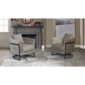 Swan Contemporary Accent Chair with Black Iron Finish and Beige Fabric